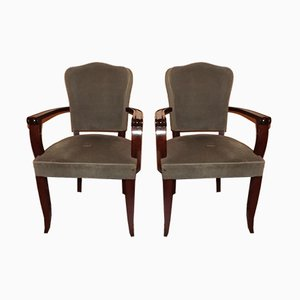 Art Deco French Mahogany and Velour Armchairs by Gaston Poisson, 1940s, Set of 2