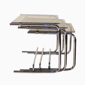 Tavolini ad incastro in acciaio cromato e vetro, anni '70