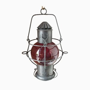 Antique French Iron and Glass Houseboat Lamp