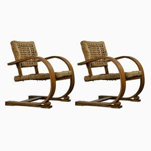 Stühle mit Holzgestell & Sitz aus Seilgeflecht von Adrien Audoux & Frida Minet für Vibo, 1940er, 2er Set