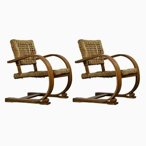 Wood & Rope Chairs by Adrien Audoux & Frida Minet for Vibo, 1940s, Set of 2