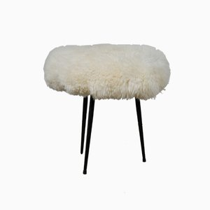 Vintage French Metal and Sheepskin Stool, 1970s
