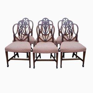 Mid-Century Esszimmerstühle aus Mahagoni mit verzierter Rückenlehne, 1940er, 6er Set