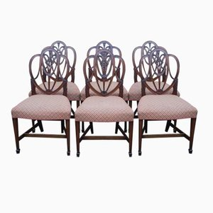 Mid-Century Mahogany Shield Back Dining Chairs, 1940s, Set of 6