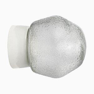 Applique vintage industriale in vetro bianco e porcellana bianca