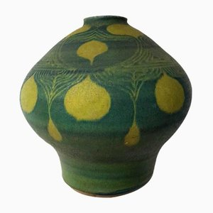 Mid-Century Ceramic Vase with Art Nouveau Pattern, 1969