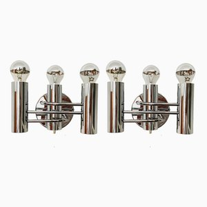 Italian Chrome Plated Metal Sconces from Leola, 1960s, Set of 2