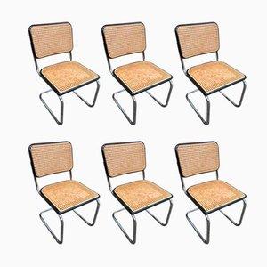 Bauhaus S32 Esszimmerstühle mit Stahlrohrgestell von Marcel Breuer für Thonet, 1980er, 6er Set