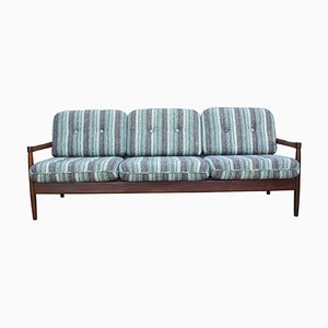 Ausziehbares dänisches 3-Sitzer Sofa mit Gestell aus Teak, 1970er