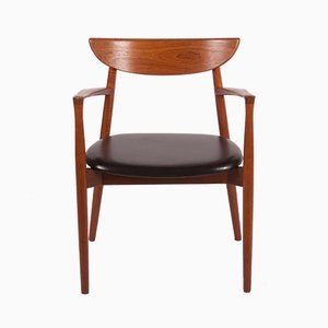 Model 59 Leather and Teak Armchair by Harry Østergaard for Randers Møbelfabrik, 1960s