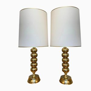 Swedish Brass Table Lamps from Enco, 1970s, Set of 2