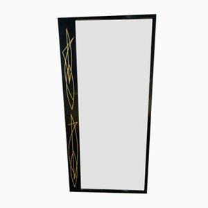 Schwedischer Spiegel mit schwarzem Holzrahmen, 1950er