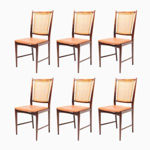 Swedish Beech and Leather Dining Chairs, 1950s, Set of 6
