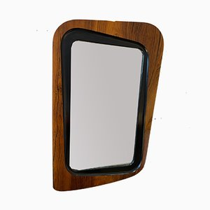 Swedish Rosewood & Black Lacquered Wood Mirror from Glas & Trä, 1956
