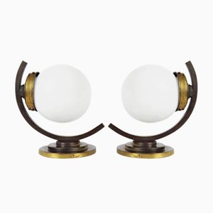 Art Deco Brass and Glass Wall Lights, 1930s, Set of 2