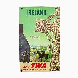Affiche Mid-Century par S.Greco pour TWA, Irlande, 1950s