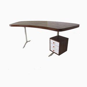 Mid-Century Chef-Schreibtisch aus Aluminium & Wengeholz, 1960er