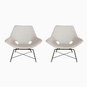 Italienische Sessel mit Metallgestell von Augusto Bozzi, 1950er, 2er Set