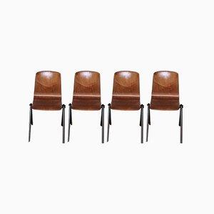 Chaises de Salle à Manger Industrielles en Contreplaqué et Acier de Galvanitas, 1960s, Set de 4