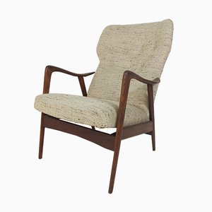 Teak and Wool Reclining Lounge Chair by Ingmar Relling for Westnofa, 1950s