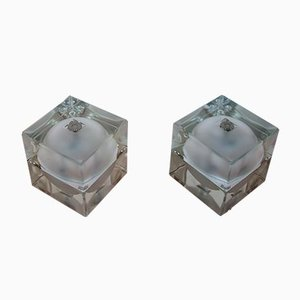 Italian Frosted Glass Cubosfera Table Lamps by Alessandro Mendini for Fidenza Vetraria, 1980s, Set of 2