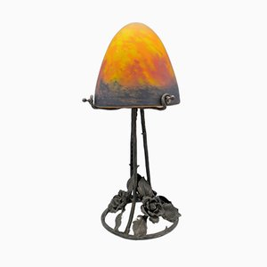 Vintage Art Deco French Glass Table Lamp, 1920s