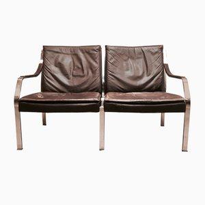 Chaise longue in acciaio e pelle di Walter Knoll, anni '60