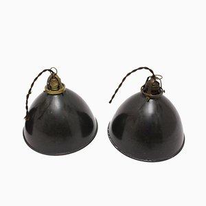 Lámparas de techo Bauhaus alemanas esmaltadas y metálicas, años 20. Juego de 4