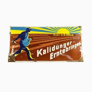 Cartel publicitario de fertilizante de acero y esmalte de Kali AS Prag, años 40