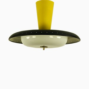 Deutsche Deckenlampe aus Aluminium & Milchglas von Trilux, 1950er