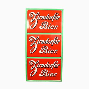 German Enamel and Steel Zirndorfer Beer Sign from Boos und Hahn, 1950s