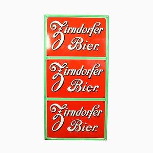 German Enamel and Steel Zirndorfer Beer Sign from Boos und Hahn, 1950s