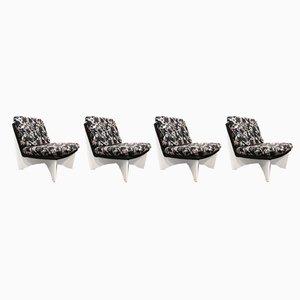 Scandinavian Modern Beech Lounge Chairs, 1960s, Set of 4