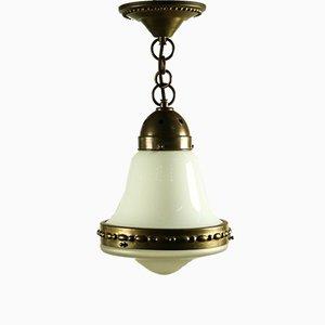 Deutsche Art Deco Vintage Deckenlampe aus Messing & Milchglas