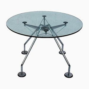 Round Italian Glass Nomos Dining Table by Norman Foster for Tecno, 1987