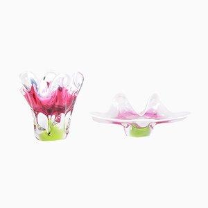 Bohème Vase & Schüssel aus rosafarbenem Glas von Josef M. Hospodka für Sklarny Chribska, 1960er, 2er Set