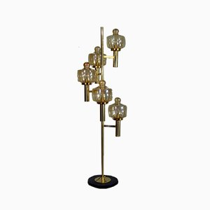 Italian Brass & Murano Glass Floor Lamp from Stilnovo, 1950s