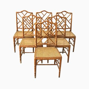 Hollywood Regency Faux Bamboo Dining Chairs, 1960s, Set of 6