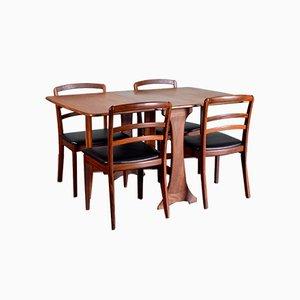 Tavolo allungabile e sedie da pranzo in teak di G-Plan, anni '60