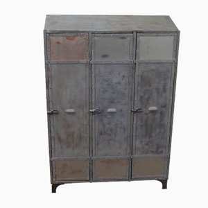 Mid-Century Industrial French Iron Cabinet, 1940s