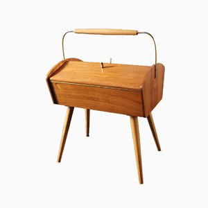 Mid-Century German Brass and Wood Sewing Box, 1950s