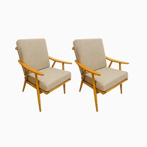 Modernist Beech Boomerang Armchairs from TON, 1960s, Set of 2
