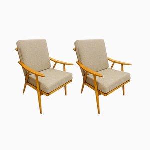 Modernist Beech Boomerang Armchairs from TON, 1960s, Set of 2