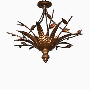 Gold Leaf and Wrought Iron Ceiling Lamp, 1960s