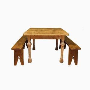 Table de Salle à Manger et Bancs Rustiques Antiques en Chêne et Pin, France