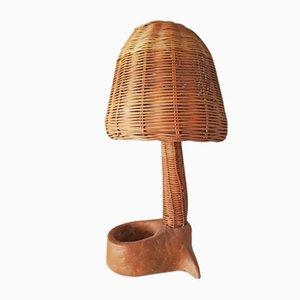 Lampada da tavolo a fungo in vimini e bambù, anni '70
