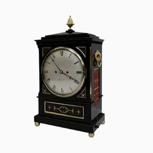 English William IV Ebonised and Brass Inlaid Bracket Clock from Charles Crews, 1830s