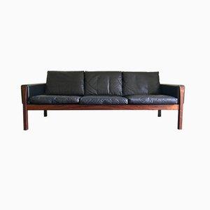 Sofá modelo AP62 danés de cuero, metal y madera de Hans J. Wegner para AP Stolen, años 60