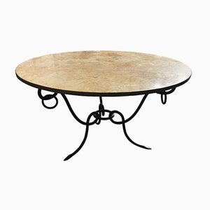 Vintage French Wrought Iron and Marble Coffee Table by René Drouet, 1940s