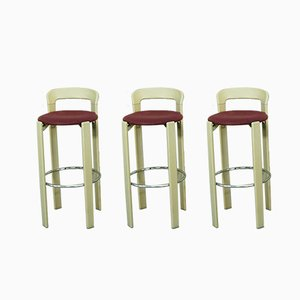 German Beech, Chrome, and Wool Stools by Bruno Rey for Kusch+Co, 1970s, Set of 3